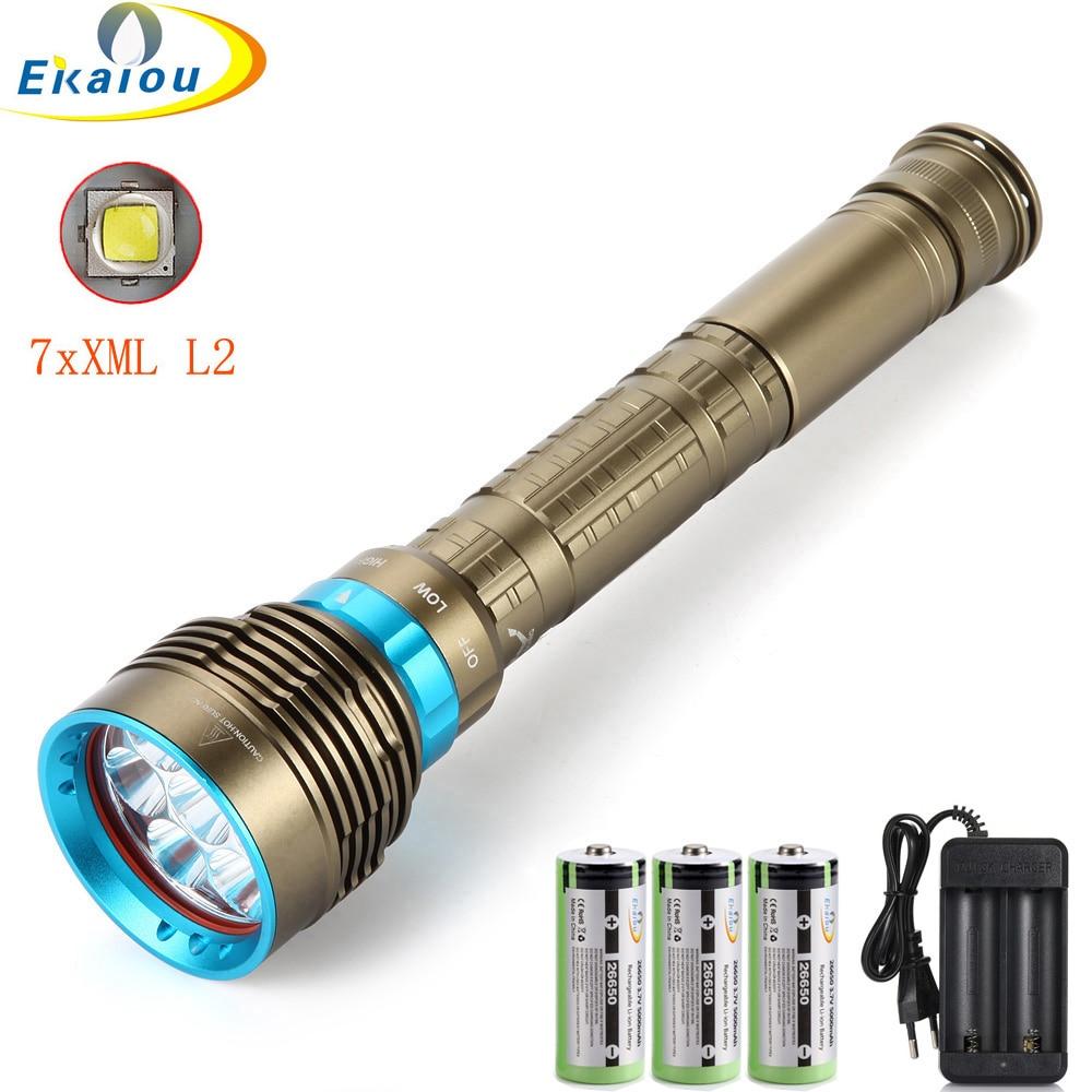 100M linterna de buceo 7xXM-L2 LED subacuática luz blanca de buceo/luz amarilla linterna de buceo uso 3x26650 batería