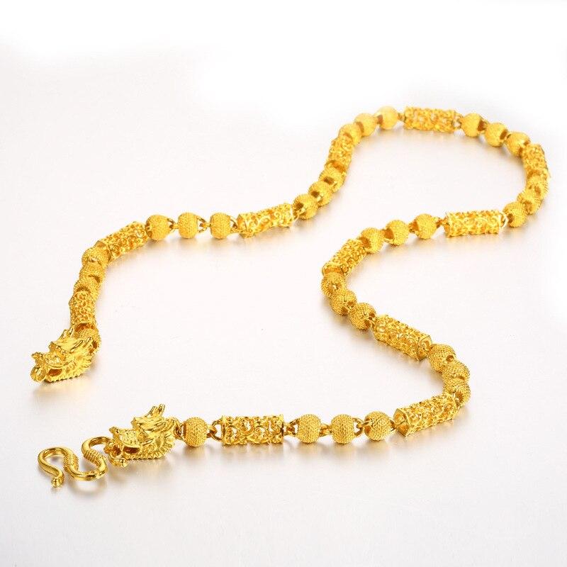24K الذهب الأصفر مطلي بوذا حبة رأس التنين قلادة قلادة للرجال النساء الجوف التنين سلسلة اليورو عملة جولة سلسلة من الخرز