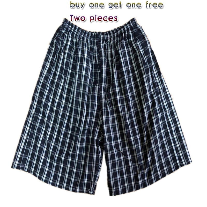 Beach pants cotton plaid casual large size middle-aged and elderly five-point sports surfing loose over-the-knee men's shorts