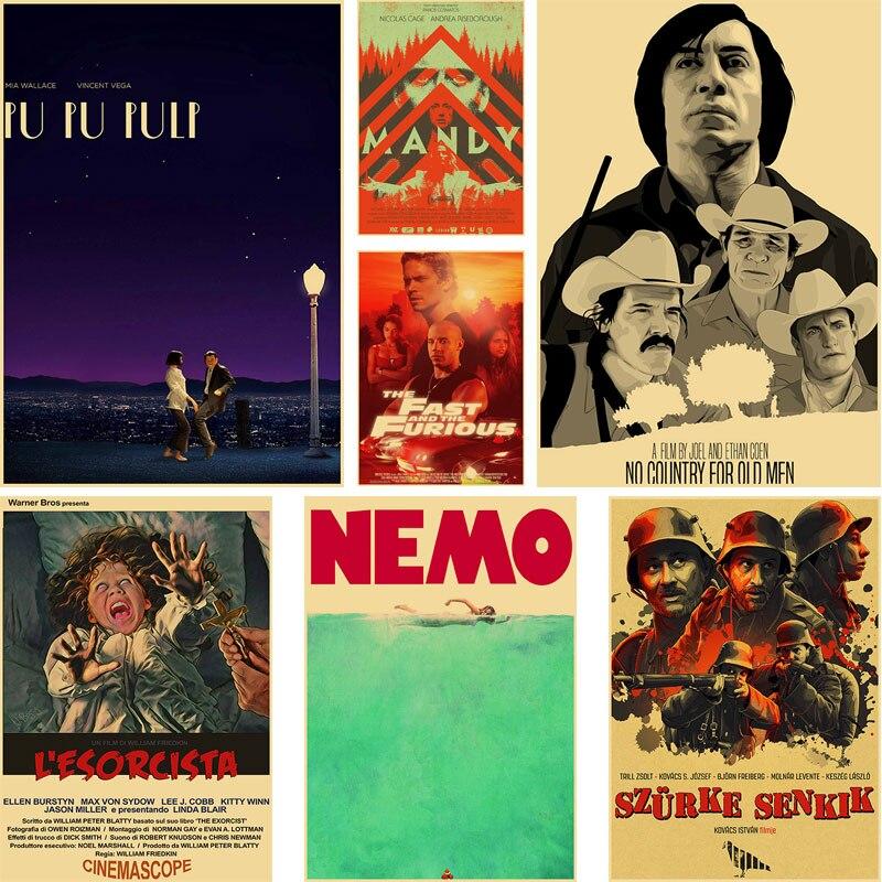 Классические Постеры для фильмов научной фантастики, винтажные Ретро постеры из крафт-бумаги, домашние настенные наклейки «сделай сам», де...