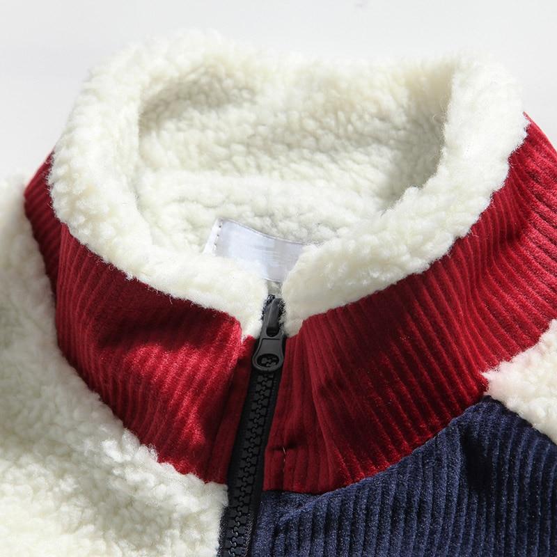 Fleece Padded Thick Jackets Mens Streetwear Retro Color Block Patchwork Jacket Coat Harajuku Cotton Winter Coats Outwear