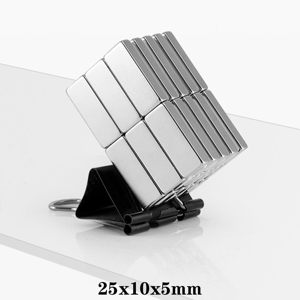2/5/10/20/50 шт 25x10x5 сильный неодимовый магнит толщина 5 мм Блок Постоянных Магнитов 25x10x5 мм мощный магнитный 25*10*5