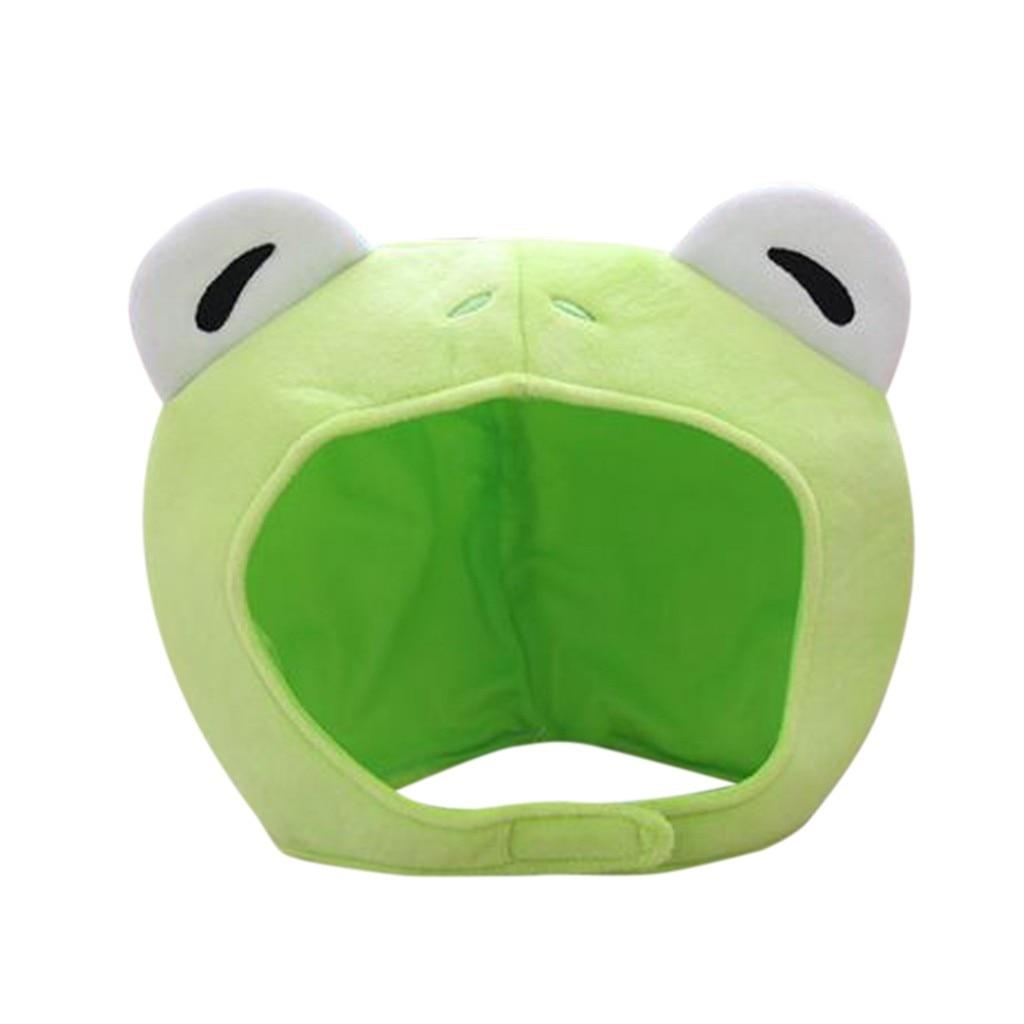 Women Girls Cute Rabbit Frog Animal Earflap Hat Funny Big Eyes Frog Cartoon Plush Hat Toy Green Head