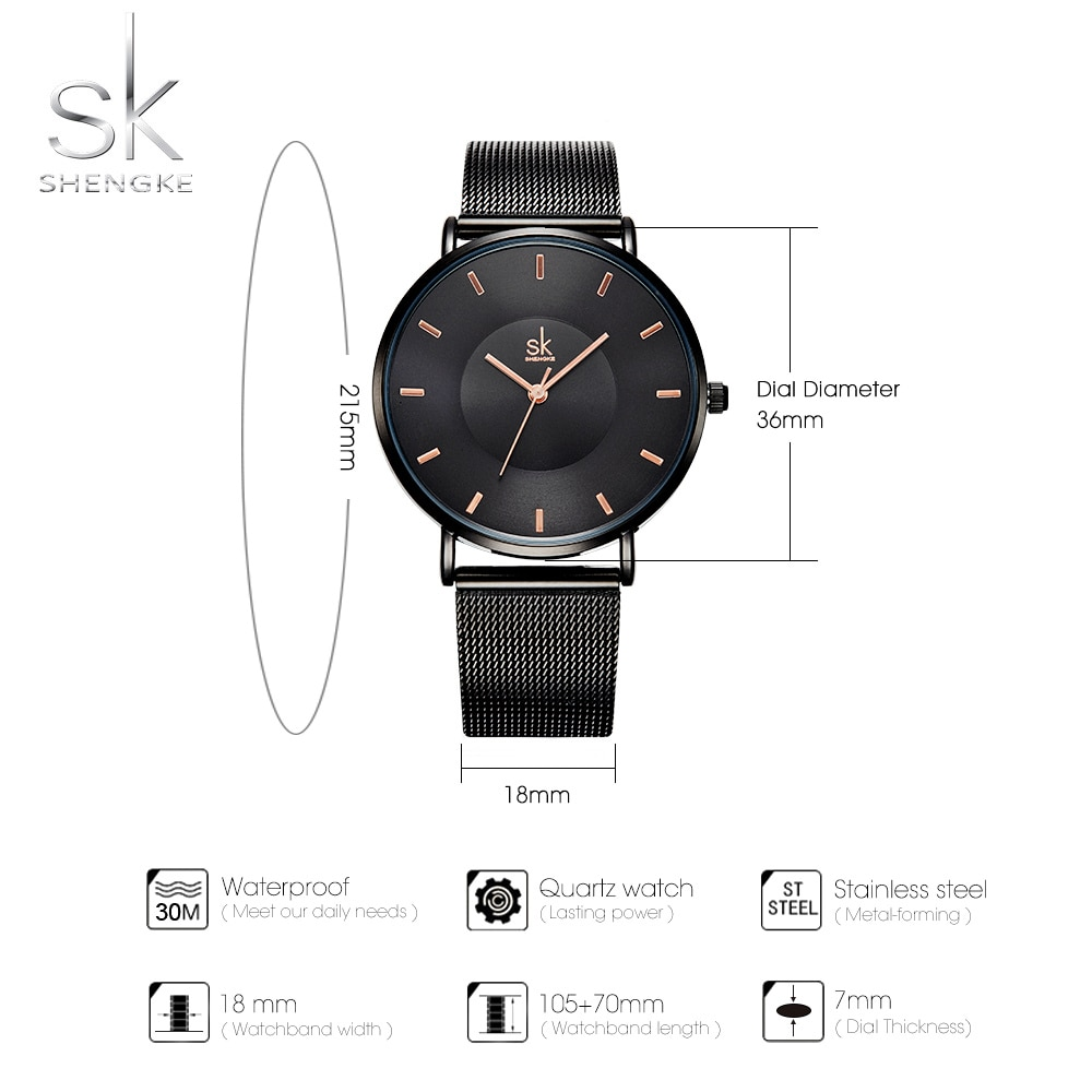 Shengke Women Quartz Watch Movement Simple Design Luxury Gift Stainless Steel Band Curved Face Black Gold Watches For Women enlarge