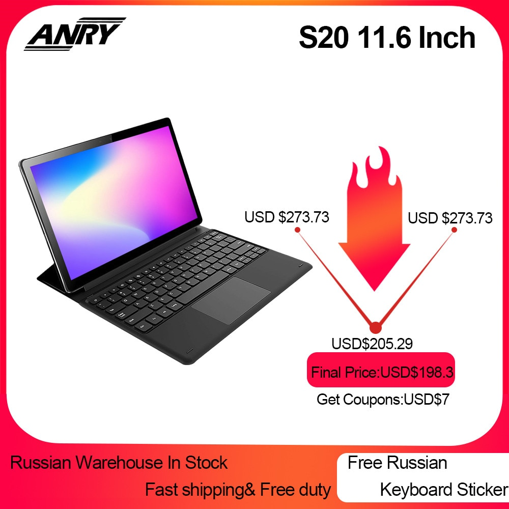 ANRY S20 11.6 Inch Tablet RU ES Sales 4GB RAM 128GB ROM Android 8.1 Tablet Pc Deca Core 4G LTE GPS Google Play 2 In 1 Phablet