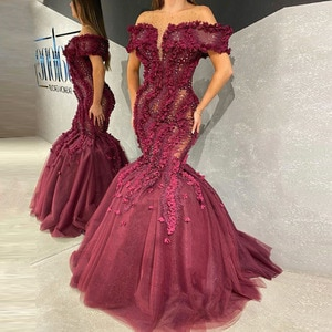 burgundy prom dresses 2021 off the shoulder mermaid hand made flowers crystal puffy long evening dresses