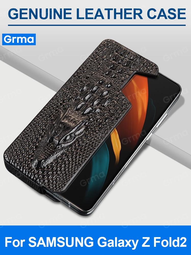 GRMA الفاخرة جلد طبيعي الغطاء الواقي لسامسونج غالاكسي Z Fold2 أضعاف 2 5G SM-F9160 حالة الجانب تحميل للصدمات غطاء
