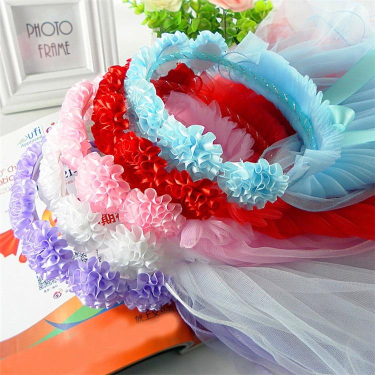 Flower Girl Veils Two Layers White Wedding Communion Hair Wreath Girls Princess Hairband