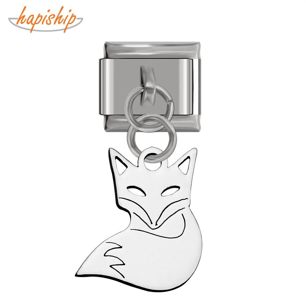 Hapiship novo produto original daisy corte polimento raposa charme italiano apto 9mm pulseira de aço inoxidável jóias fazendo dj150