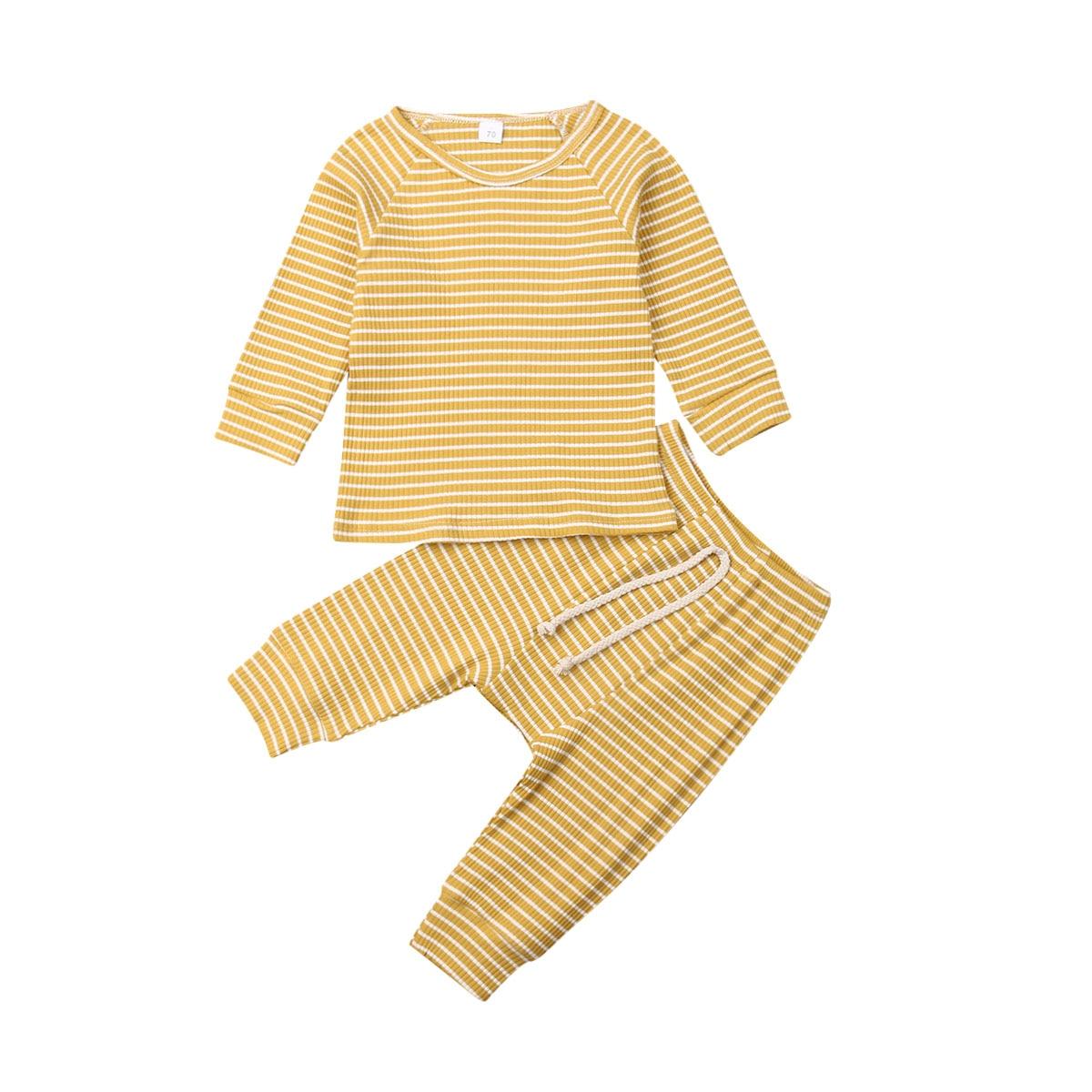 Трикотажная хлопковая одежда для новорожденных девочек и мальчиков полосатая футболка Топы, штаны, леггинсы комплект одежды из 2 предметов для малышей