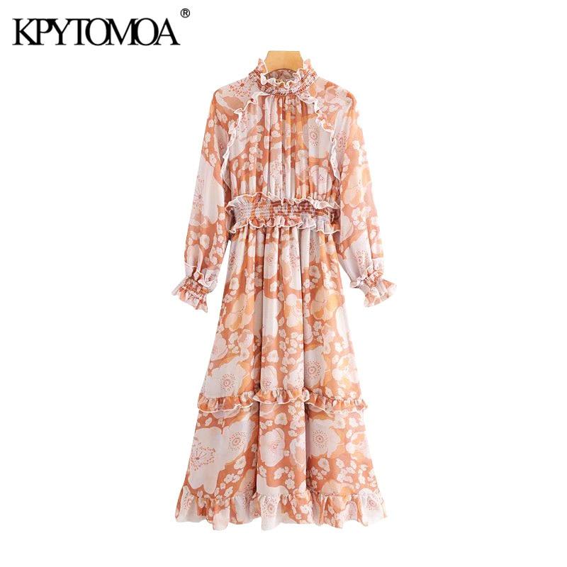 Vintage Stylish Floral Print Ruffled Midi Dress Women 2020 Fashion Long Sleeve Elastic Waist Office Wear Female Dresses Vestidos