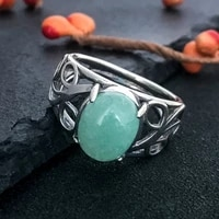 810mm green jade gemstone ring s925 sterling silver female engagement wedding party jewelry vintage fine jewelry gitf wholesale