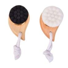 1pcs Women Deep Pore Clean Wash Wooden Horn Facial Cleansing Brush Face Comma Brush Soft Fiber Facia