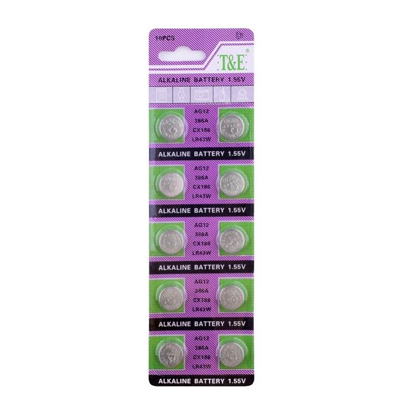 100 Uds 10 tarjetas LR43 AG12 batería de monedas 386A SR43 186 LR1142 1,55 V Zn/MnO2 batería de botón de litio pilas juguetes Relojes