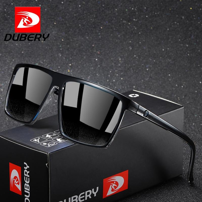 DUBERY 2021 Newest Vintage Men Polarised Silver Mirror Glasses Polarized Big Frame Square Sunglasses