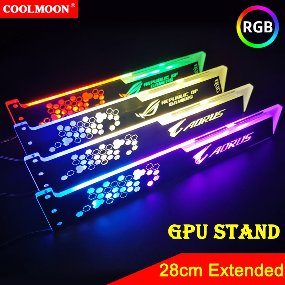 Coolmoon 28cm Extended Graphics Card Support 5V 4PIN RGB GPU Holder Bracket Frame Stand Computer Case Light Board Accessories