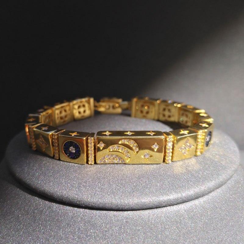 موضة موناكو سوار نجمة وقمر أصلي 1:1 ذهبي مجوهرات 925 فضة هدية عيد