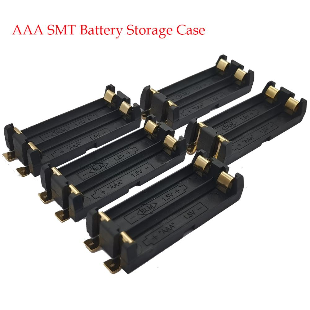 5 pces 2 * aaa bateria titular smd smt caixa de bateria com pinos de bronze diy