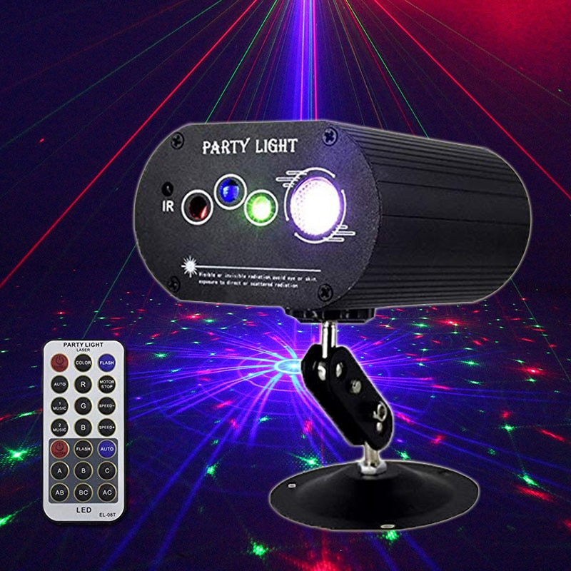 3w usb 5v mini disco ball lamp dj ktv stage light wireless ir remote voice activated lamp home party dance floor rgb light show Party Lights RGB 4lens Laser Light DJ Disco LED Stage Projector Lamp for Home Party KTV DJ Dance Floor