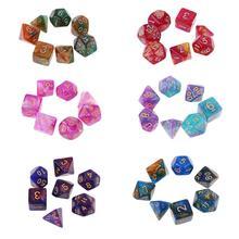 7 pièces/ensemble Dichromatique D4 D6 D8 D10 D12 D20 Polyédrique Dés Nombre Cadrans De Bureau