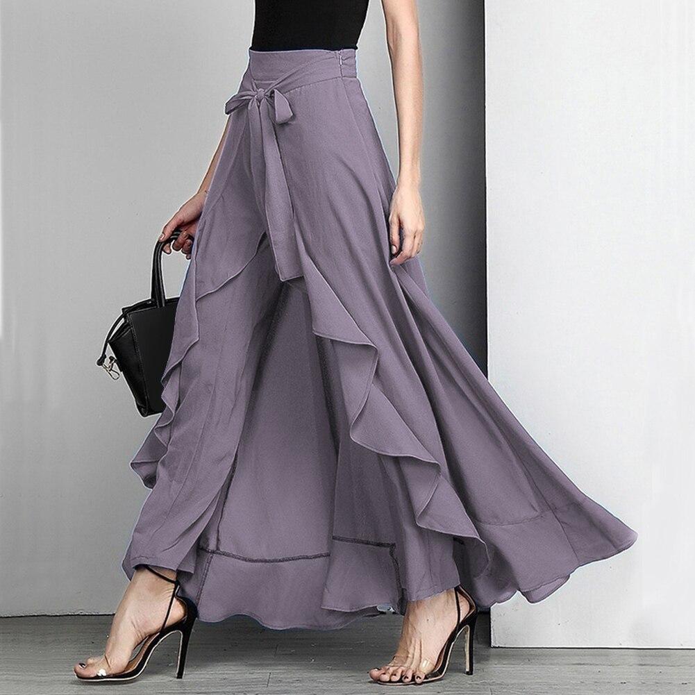 Женские брюки-Палаццо 2020, повседневные нестандартные женские брюки с оборками, элегантные свободные однотонные женские брюки с высокой тал...