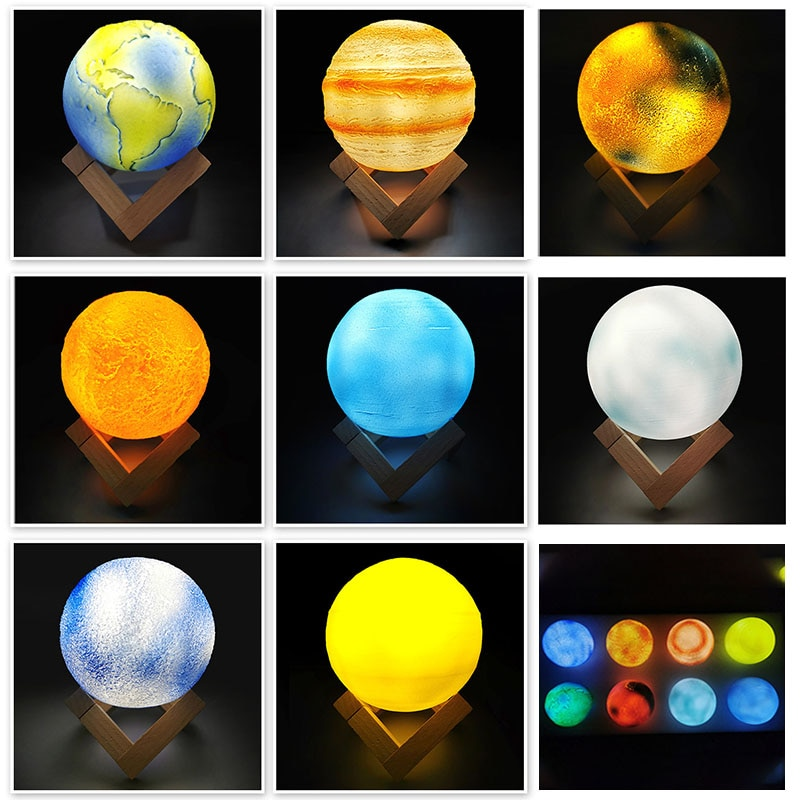 3D Printing Rechargeable Moon Lamp Kids Night Light 16 Color Change Touch and Remote Control Galaxy Moon Light as Gifts