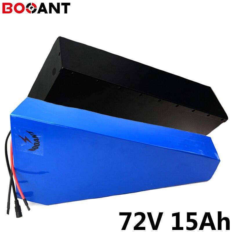 20S 5P 72V 15Ah 1000W batería de bicicleta eléctrica para Panasonic 18650 celda 72V 1500W batería de iones de litio triangular ebike con caja de metal