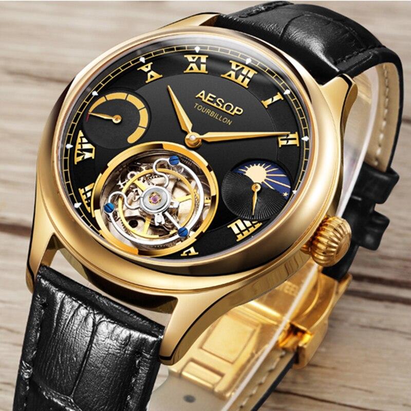 Aesop Real Tourbillon Mechanical Wrist Watches For Men Luxury Casual Fashion Sapphire Tourbillon Ske