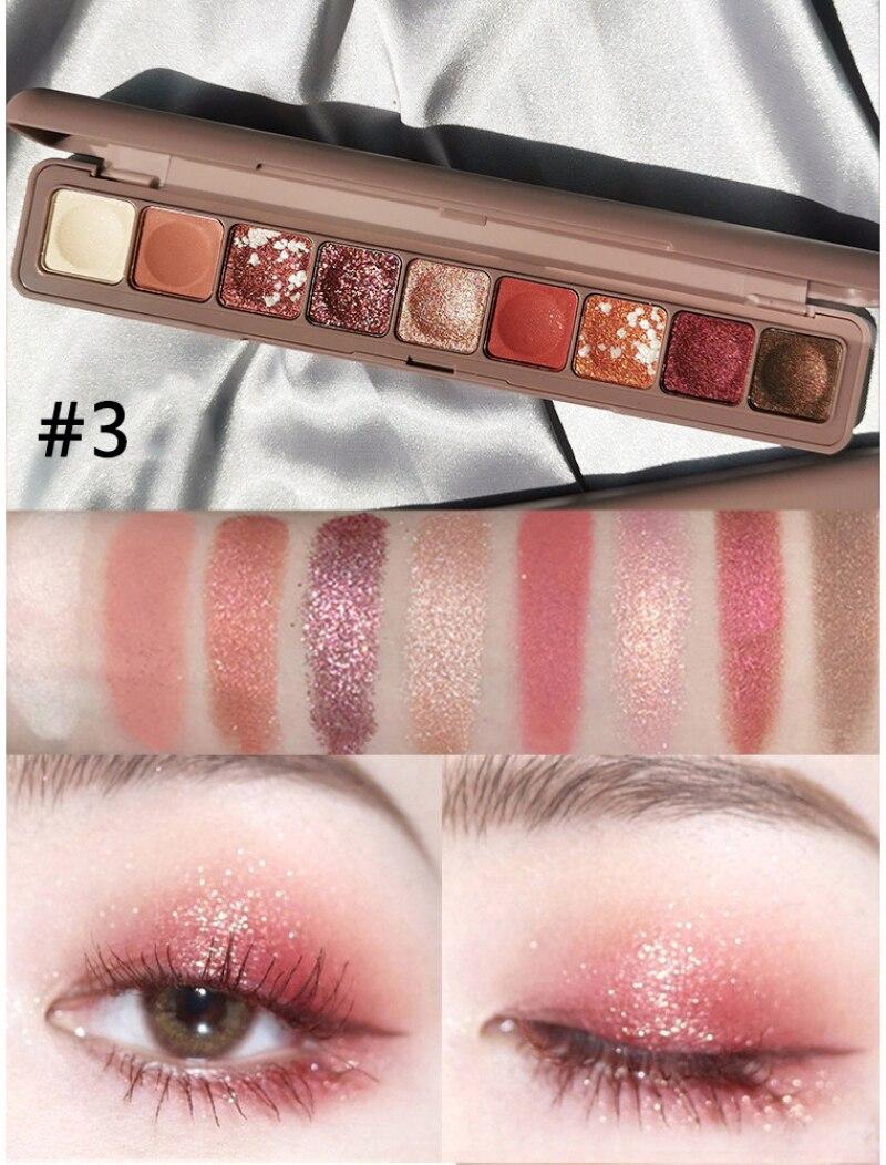 2020 makijaż matowy 9-kolor oczu cień brokat wodoodporny łatwy w użyciu Pigment perłowy paleta cieni do powiek kosmetyki cień do powiek TSLM2