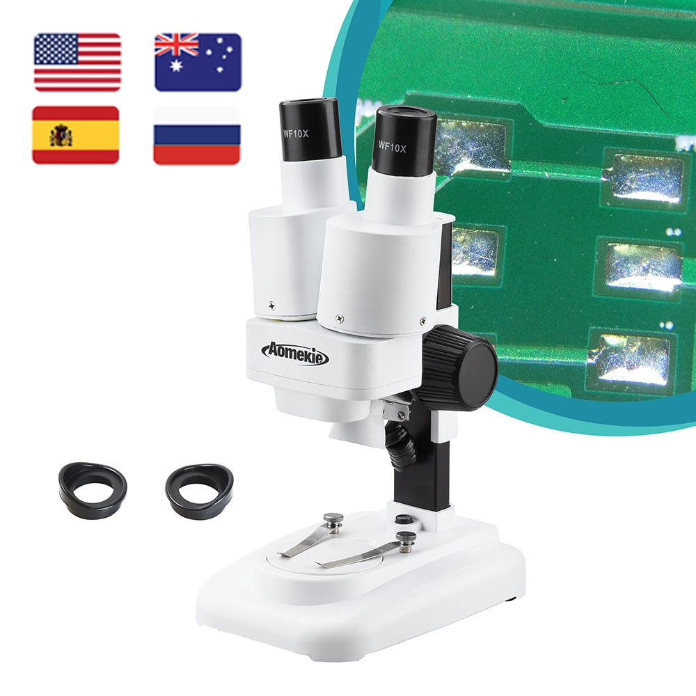 AOMEKIE 20X Binocular Stereo Microscope Wide Field of Vision for PCB Solder Mobile Repair Tool Slide