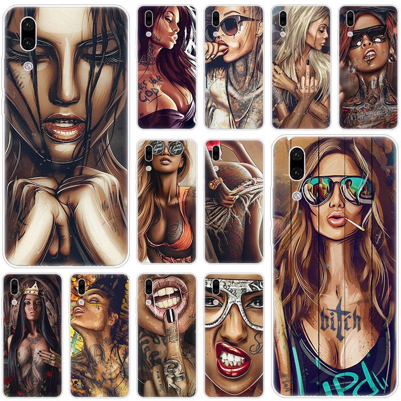 Hot Sexy Sleeve Tattoo Mädchen Silikon Fall für Huawei P30 P20 Pro P10 P9 P8 Lite 2017 P Smart Z plus 2019 NOVA 3 3i 5i 5Pro Abdeckung