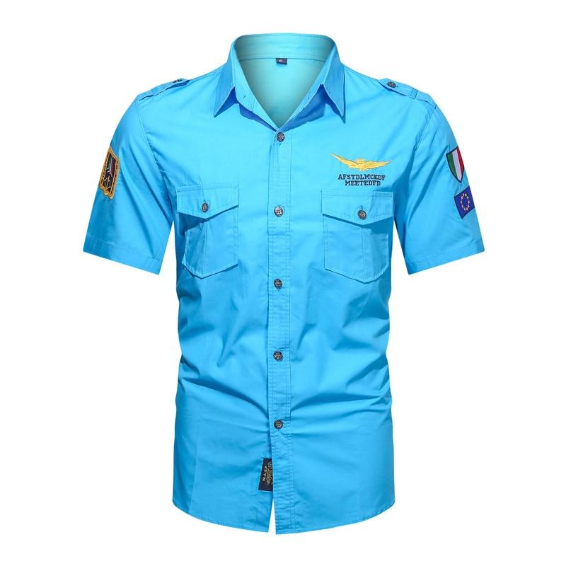 Мужские повседневные рубашки-карго бренд Thoshine, 100% хлопок, сафари с коротким рукавом, нашивка для рубашки, вышивка, военная армейская рубашка...