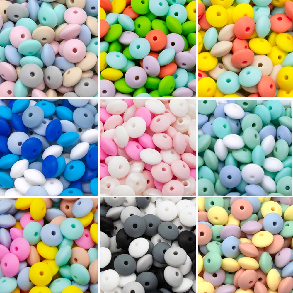 Cute-Idea Silicone Beads 12MM Lentil Beads 20Pcs BPA Free Eco-friendly Baby Teething Teether DIY Bab