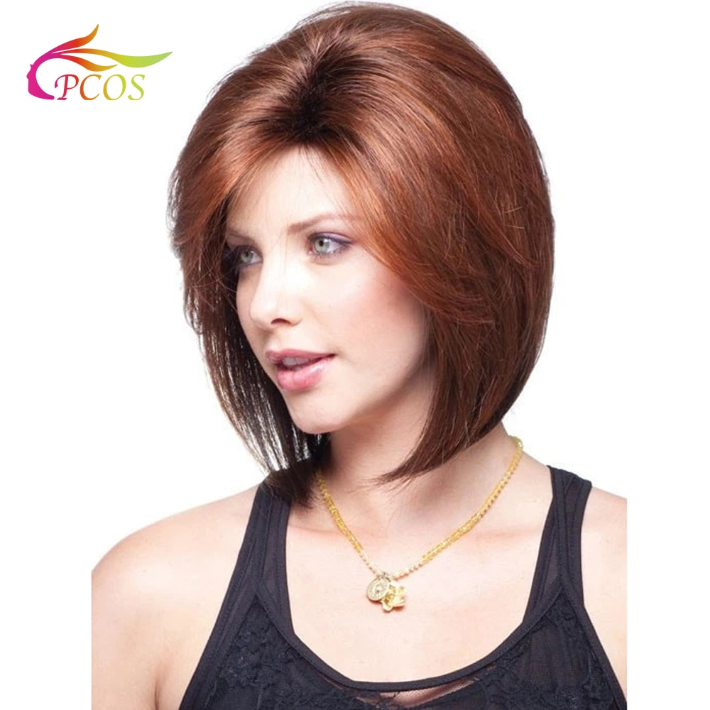 Short BOB Wig for American African Women Synthetic  Red-brown Color Hair Side Part Heat Resistant Wigs with Bangs