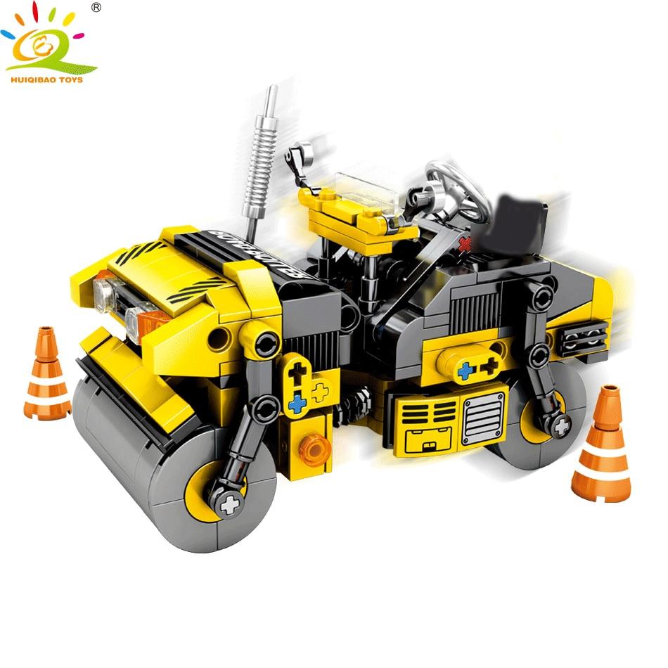 Huiqibao 288 pcs cidade engenharia estrada rolo veículo brinquedos blocos de construção técnica construção steamroller caminhão figuras tijolos