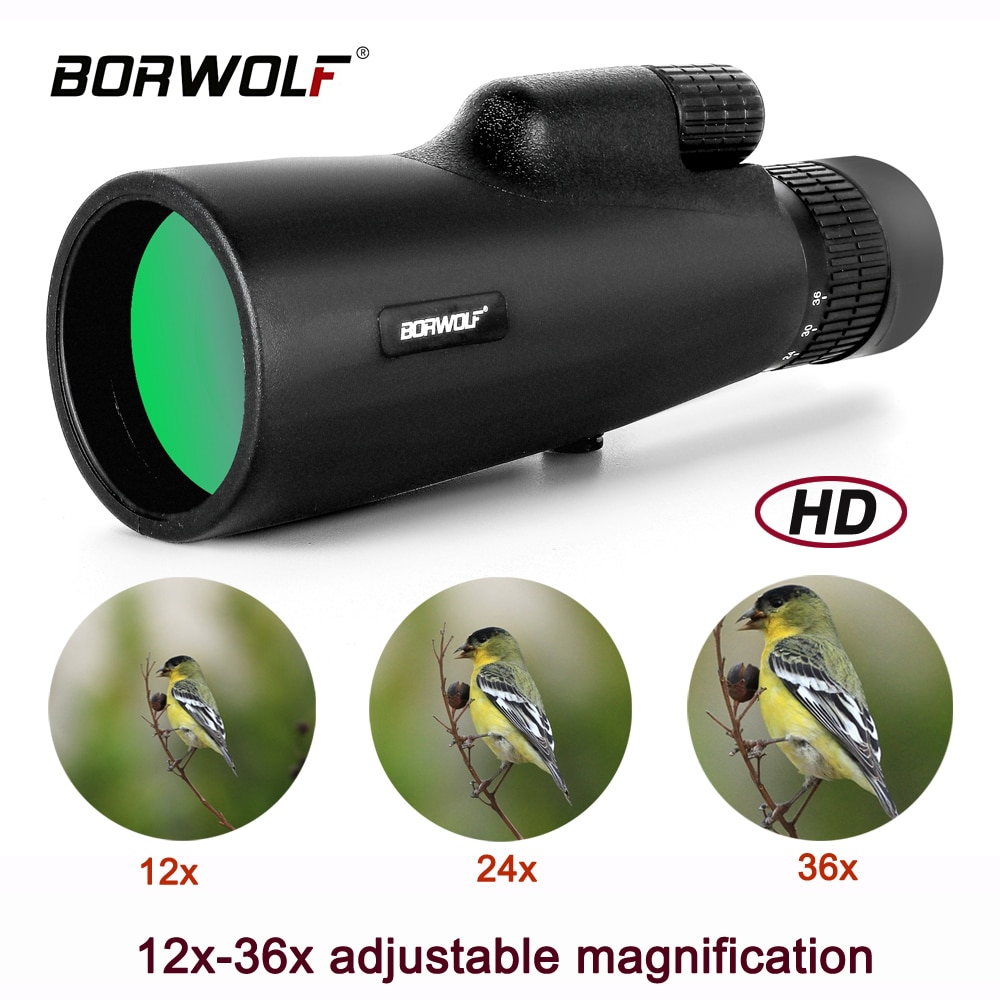 2021 Borwolf 12-36X50 مناظير BAK4 المنشور عدسة بصرية عالية الطاقة الصيد الطيور أحادي العين ضوء تليسكوب رؤية ليلية