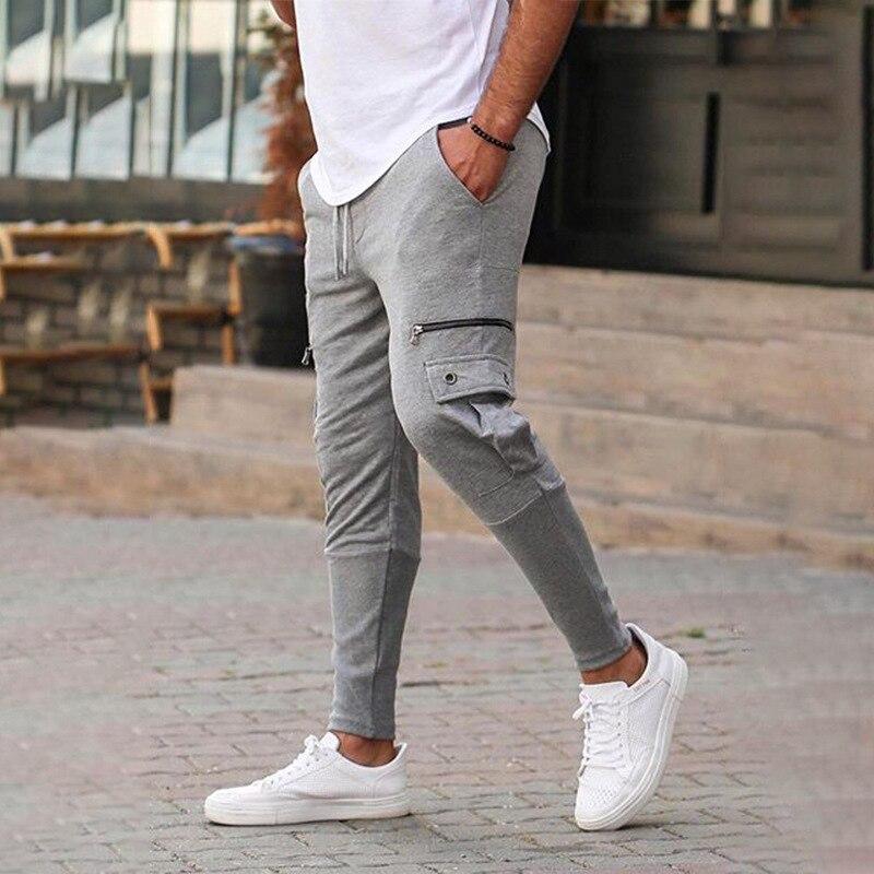 Men Pure Cotton Joggers Pants Zipper Decoration Pockets Overalls Trousers Casual Pockets Men's Fitness Exercise Pencil Pants