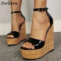 sorbern black shiny wedge sandals platform summer heels ankle straps high platform shoes diy any colors big size wedge shoes