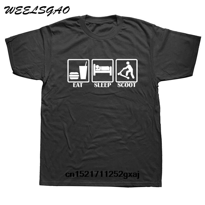 Camiseta para hombre comer dormir SCOOT Push stack Scooter divertida camiseta novedad camiseta Mujer