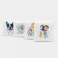 Owłosione śliczne poszewki na poduszkę kolor Labrador motyl pies pudel Cartoon rzucanie poduszka salon dekoracji 45*45Cm aksamitna poduszka