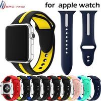 Ремешок силиконовый для apple watch band 42 мм 38 мм 40 мм 44 мм, спортивный браслет для смарт-часов iWatch Series 4/3/2/1