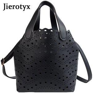 JIEROTYX Fashion Designer Women Handbags High Quality PU Leather Women Bag Hollow Out Totes Ladies Retro Shoulder Messenger Bags
