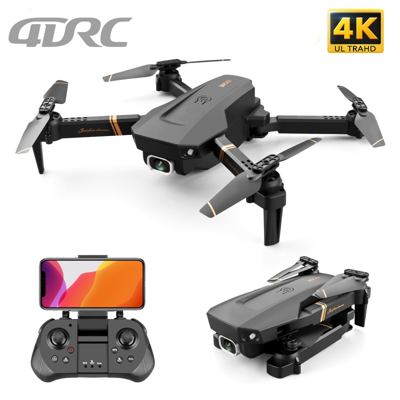4DRC V4 WIFI FPV Drone WiFi live video FPV 4K/1080P HD Wide Angle Camera Foldable Altitude Hold Dura