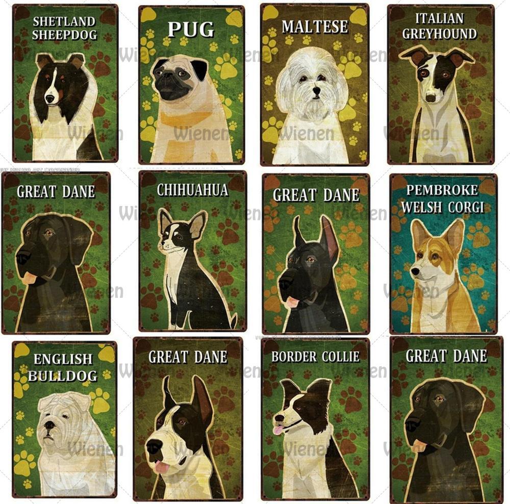 Cartel de Metal de Carlino para mascotas, perro, Toro, Toro, perro, Gran Danés, póster de boxeador, decoración del hogar, Bar, pintura artística de pared, tamaño 20*30 CM