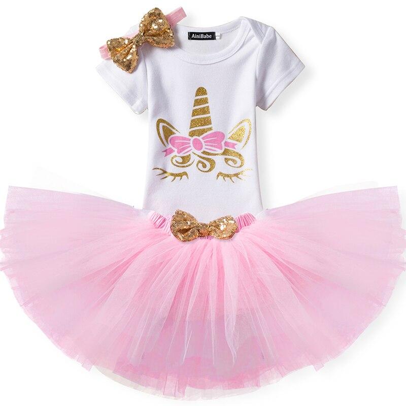 Комплект одежды из 3 предметов с единорогом Одежда для маленьких девочек платье для первого дня рождения для малышей, 2 дня рождения нарядно...
