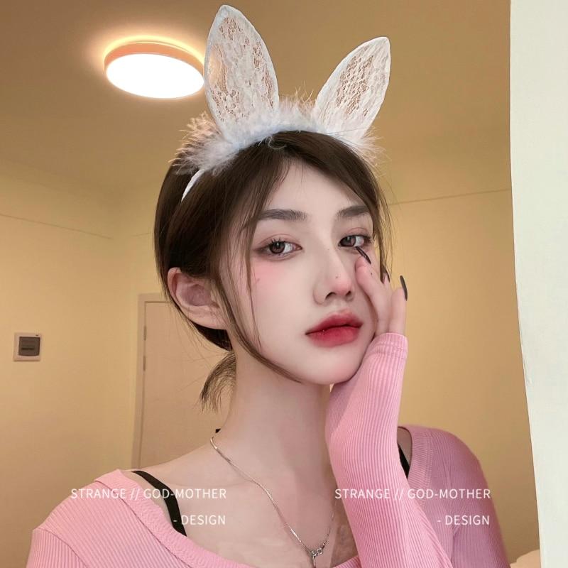 Cute Black and White Lace Cat Ears Headband Female Japanese Sexy Fur Rabbit Ear Headdress Cos Anchor