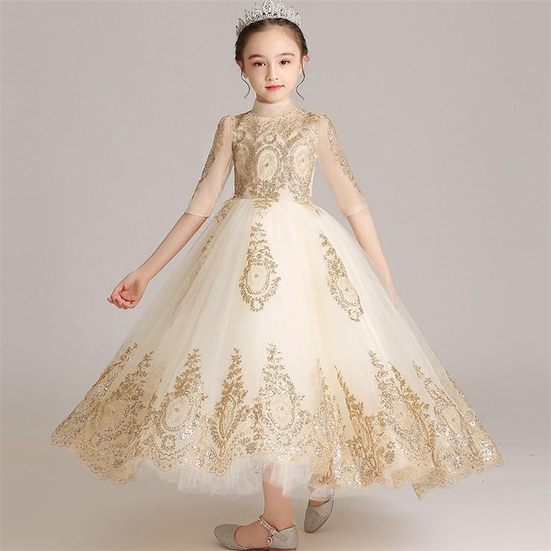 فستان أميرة طويل مزين بالترتر ، أكمام متوسطة الطول ، زي بيانو مضيف ، فستان سهرة للأطفال ، مجموعة جديدة 2019