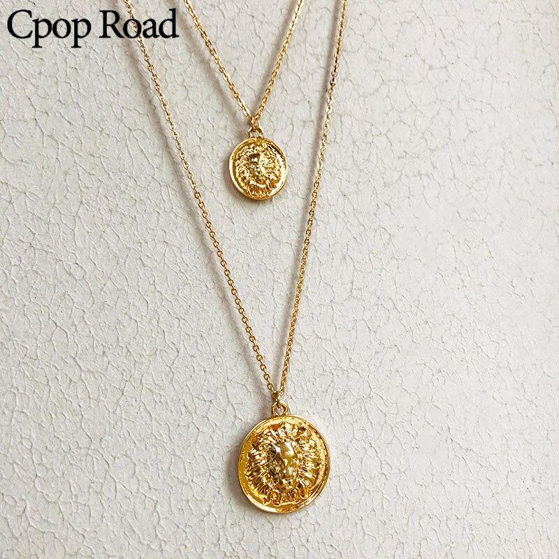 Cpop COLLAR COLGANTE De León Avatar humano de doble capa a la moda, collar creativo con personalidad, cadena de oro, accesorios de joyería