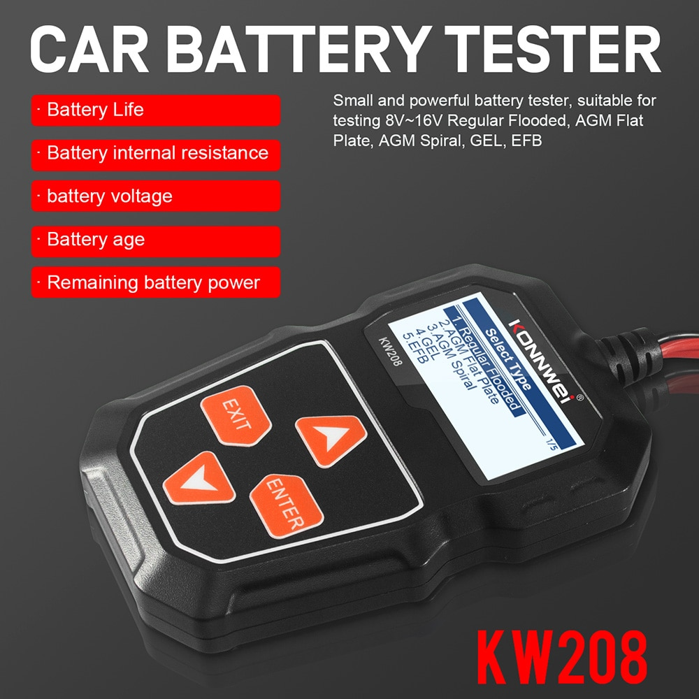 Тестер автомобильного аккумулятора er KW208, 12 В, диагностический тест автомобильного аккумулятора, тестер автомобильного аккумулятора 100-1100CCA...