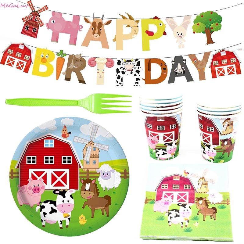 Декоративная посуда для вечевечерние НКИ на ферме, бумажный баннер на день рождения, висячая гирлянда, товары для украшения вечеринки, Натя...